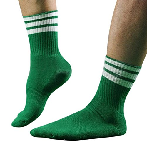 Kurze Socken Herren Kolylong 1 Paar Männer Herren Fußball Gestreift hohe Socken Eishockey (Green)