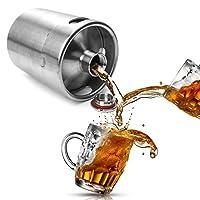 La description:  Mini baril de cultivateur de bière en acier inoxydable. Contient 2L de bière et est fabriqué en acier inoxydable. Le couvercle vissé à joint d'étanchéité ferme hermétiquement. C'est le growler le plus cool de la planète. Accessoire p...