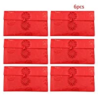 Skyoo Traditional Red Envelope for Christmas Chinese New Year Wedding Graduation Birthday, Red Packets Pack of 6
