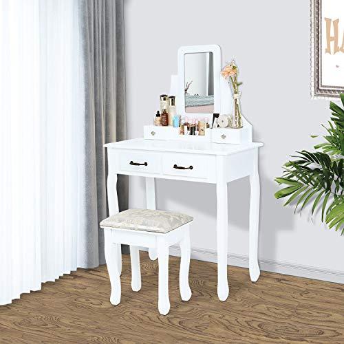 Generic ble Miroir réglable avec Languette de tiroir pour Chambre à Coucher ou Maquillage Blanc