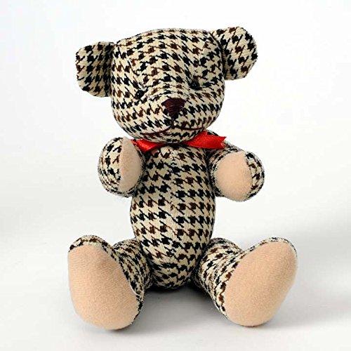 HAB & GUT -UD005V-A- Teddybär Finn, Popart Teddy, Stofftier Hahnentritt-Muster braun, schwarz, beige, 19 cm (Teddybären Sammlerstücke)