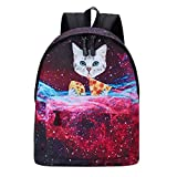 Fanient Ligero Unisex School Backpack Print Pizza Cat para Mujeres Adolescentes