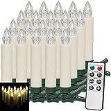20 LED Weihnachtsbaumkerzen mit Fernbedienung Warmweiß Dimmfunktion Weihnachtskerzen Weihnachtsdekoration Kabellos Timerfunktion Weihnachtsbaumbeleuchtung Modellauswahl