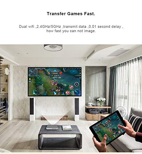 Ydq Portable Android Wifi Video Projector Home Cinema  Support 1080P 720P Airplay Wireless LED LCD Projector  Built-In Speaker PC Laptop Video DVD Smartphone Game Consoles