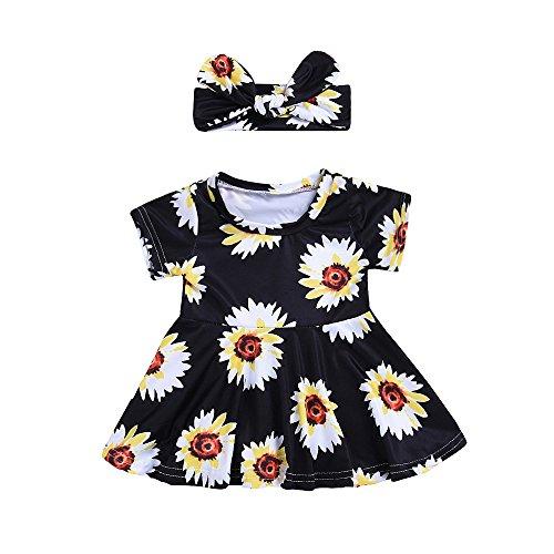 SANFASHION Baby Babykleider Kostüm Mädchen Neugeborenes Kleinkind Blumendruck Kleider Stirnbänder Outfits ()