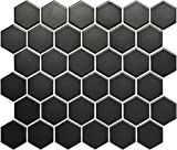 Keramikmosaik Hexagon 4 schwarz matt