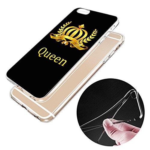 iPhone 7plus 7 Hülle Kreative König Königin Glückliche Zahlen Paar TPU Silikon Schutzhülle Handyhülle Case - Klar Durchsichtig Clear für das iPhone 7/7plus zt23