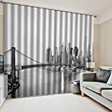 WKJHDFGB Tende di Ombreggiatura Opaco Camera da Letto Tende Stampa 3D Ponte della Città in Bianco E Nero Seta Nera Ad Alta Precisione 215X320Cm