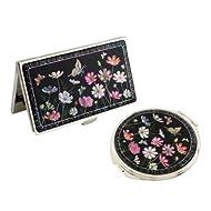 Set Miroir de Poche + Porte cartes de visite Nacre Collection fleur COSMOS