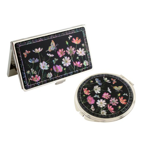 Set Miroir de Poche + Porte cartes de visite Nacre Collection fleur COSMOS