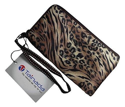 tainada wpp03lp Smartphone Wristlet Be told of at, tainada Dual Slots Reißverschluss Geldbörse wasserabweisend Wristlet Tasche für iPhone 7/6S/6Adventitious, Samsung Galaxy Note 5/4und mehr–Leopard Assemblage