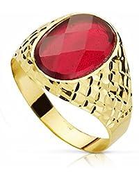 Chevalière pierre en or 18 carats 14mm spinelle rouge. ovale [AA2304]