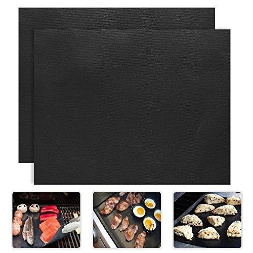 PENVEAT 2 pcs/lot 0.2 mm épais PTFE Barbecue Grill Tapis 33 * 40 cm Anti-adhésif réutilisable Tapis de Grille pour Barbecue Plaque Grill Foil Barbecue Liner
