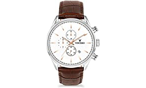 Vincero Luxury Men's Chrono S Wrist Watch - White dial with Brown Leather Watch Band - 43mm Chronograph Watch - Japanese Quartz Movement