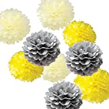 #4: Theme My Party 9pcs Mixed Yellow White Gray Tissue Paper Pom Poms Flower Ball Wedding Bridal Shower Party Decoration (Pack Of Fluffy)