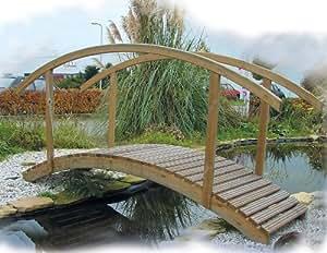 Pond bridge wooden garden bridges garden for Garden pond amazon