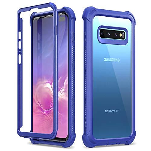 Dexnor Kompatibel mit Samsung Galaxy S10 Plus hülle Stoßfest Hybrid Ultra Dünn Handyhülle Silikon Bumper Schutzhülle Transparent Cover für Samsung Galaxy S10 Plus - Blau -