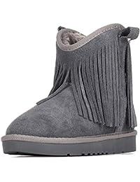 Jamron Damen Westlich Cowboy Stil Schneestiefel Modisch Knöchel Hoch Warm Pelz Gefüttert Quaste Schneestiefel