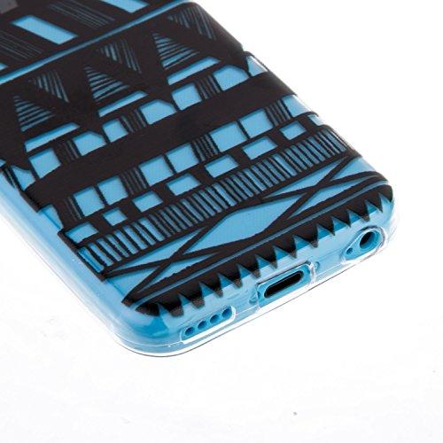 CaseHome iPhone 5C Durchsichtig Silikon TPU Hülle Elegantes Stilvoll Hübsches Muster Druckte Entwurf (Mit freiem HD Schirm-Schutz) Gummi Silikongel Retro Klassiker Stoßstange Weicher Stoßdämpfer-ultra Tribal Streifen