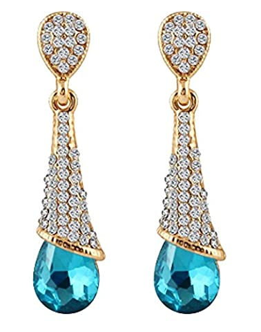 SaySure- Gold Color Geometric Crystal Tear Drop Long Earrings