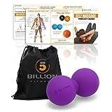 5BILLION Pelota Masaje Double Massage Ball - Pelota Lacrosse & Balon Fitness para Liberación Miofascial & Masaje Muscular - Herramienta de Masaje de Alta Densidad para Cross Fitness, Tejidos Profundos, Terapia Física