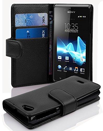 Cadorabo - Book Style Hülle für Sony Xperia J - Case Cover Schutzhülle Etui Tasche mit Kartenfach in OXID-SCHWARZ