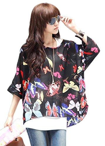 Smile YKK Femme Rétro Tops Batwing T-shirt Chiffon Papillons Noir