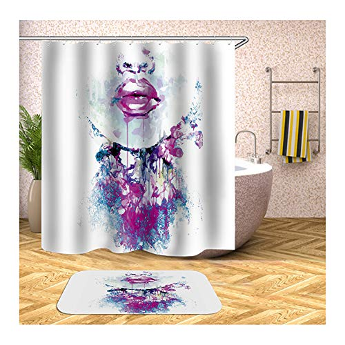 AieniD Duschvorhang Transparent Rot Mädchen Gesicht Malen Bunt Badevorhang