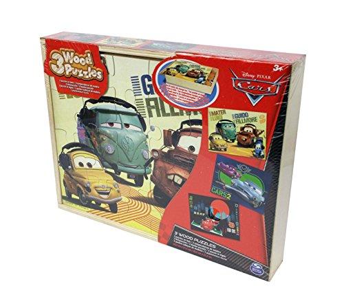 Spin Master Games 6033125 - Puzzle Legno Disney Cars - Confezione con 4 Puzzle da 24 Pz