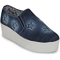 Scantia Women/Girls Casual Canvas Loafers Shoes N.blu-6