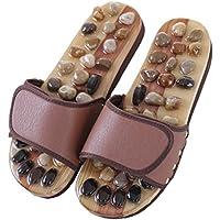 mhgao Uomo Pantofole Massaggianti piede punto Salute Naturale Pebble massaggio Pedicure Pantofole, Coffee, M - Grande Punto Di Sonno Cozy