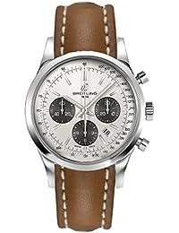 Breitling Transocean Chronograph/reloj para hombre y esfera plata Mercury/caja acero/correa piel Marrón