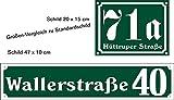 Haus Nummer DUNKELGRÜN Lang-Schild aus Aluminium Hausnummer + Strassen Namen