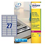 Avery L6011-20 ( 63.5 x 29.6mm) Extra-Strong Adhesive Silver Heavy Duty Labels, 27