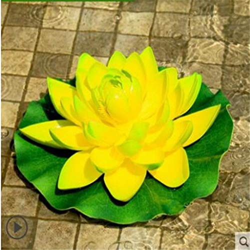 qnmbdgm Dekoration Gartenhof Kreative Simulation Lotus Harz Blatt Frosch Float Ornament Wasser Aquarium Dekoration Gefälschte Lotus Park Teich -