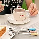 Aliciashouse Keramik Griff Floral Kaffeelöffel Edelstahl kleine Milch Löffel Geschirr-rosa