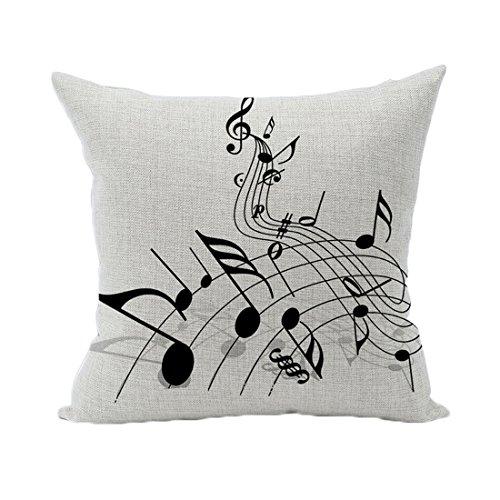 Souarts Kissenbezug Dekorative Kissenhülle Kissen Abdeckungen für Sofa Überwurf Kissen Fall Note Gedruckt 45x45cm (Noten Stoff)