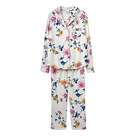Joules Lyla Pyjamas in Cream Clematis Floral-UK 10 (Adult)