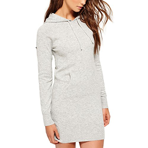 Superdry Damen Kleid Feinstrick Kapuze Luxe Knitted Hoody Dress (Grey Marl, M)
