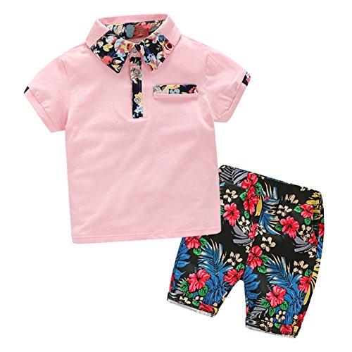 Jungen Outfits Hawaii Sommer Kleidung Sets Kragen Polo T-shirt + Blume Kurze Hosen 2 STÜCKE (Hawaii-party-outfits)