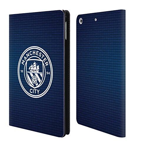 Ufficiale Manchester City Man City FC Ossidiana mattonella bianco mono Badge Pixel Cover a portafoglio in pelle per Apple iPad mini 4
