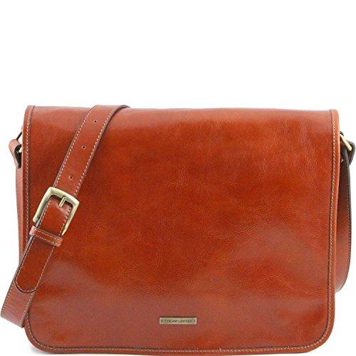 Tuscany Leather - TL Messenger - Sac bandoulière en cuir 2 compartiments - Grand modèle Marron - TL141254/1 Miel