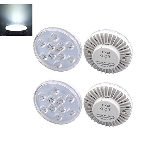 Bonlux 4-Packs 5W GX53 LED Disc-Glühlampe kühles Weiß 6000K Hohe Helligkeit 5730 SMD LED-Küche-Schrank-Licht für GX53 Leuchtstoff
