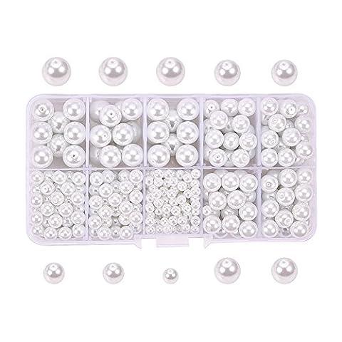 PandaHall Elite 1 Boite/environ 440 pcs Blanc Perle en verre Rond Beads 4mm 6mm 8mm 10mm Multi-Taille Mixte Lot avec Conteneur Bon Rapport Qualite-Prix