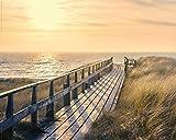 Poster Steg am Strand - Sonnenuntergang über dem Meer - Größe 40 x 50 - Miniposter