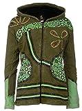 Patchwork-Strickjacke   Hippie-Jacke   Modell 'Flower Power'   Innenfutter aus Fleece   Damen   Goa-Jacket   Cutwork   Kapuzen-Sweatjacke   Individuell   Handarbeit aus Nepal