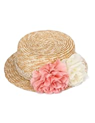 Leisial Sombrero de Paja con Arco Elegante Playa de Natación Viajes Sombrero al Aire Libre Protector Solar Sombreros para el Sol del Verano para Mujer Color Amarillo