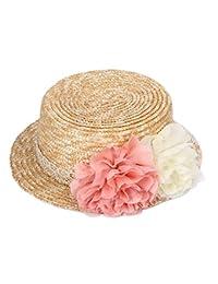 Skyeye Sombrero de Paja con Cúpula de Flores de Mujer Sombrero de Paja con Bridas Sombrero de Paja con Sombrero de Sol Sombrero de Playa