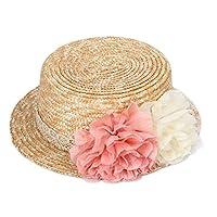 Fablcrew - Sombrero de paja de verano para la playa con lazo y flores, protección solar UPF 50+, Gorro para mujer y niña