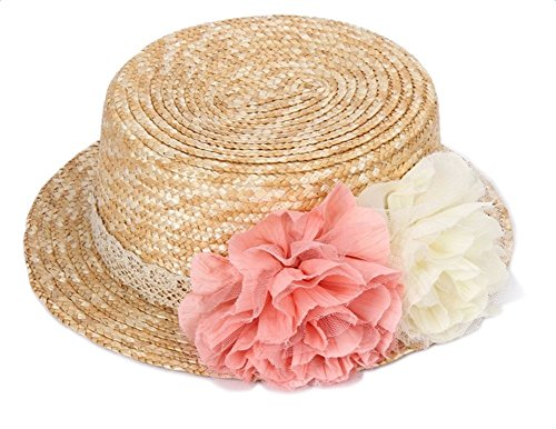 Kentop Damen Strohhut Zylinderhut Kreissäge Sunscreen Sonnenhut Sommer Runde Flat Top Brim Strand Hut mit Spitze Blume